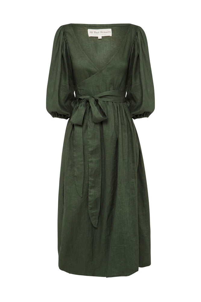 Lia Linen Midi Wrap Dress Forest Green