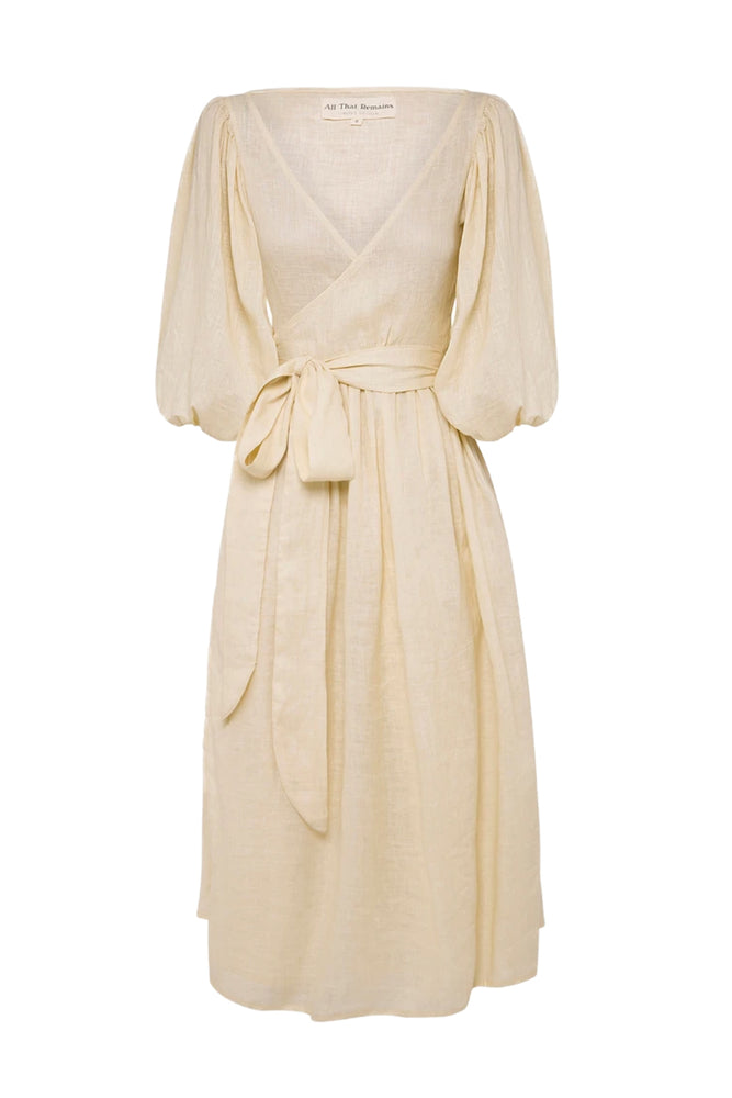 Lia Linen Midi Wrap Dress