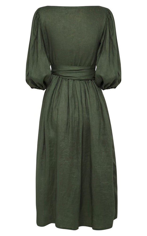 Lia Linen Wrap Dress Forest Green