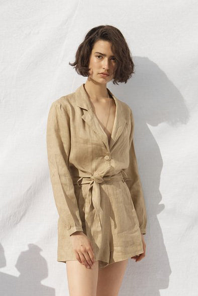 Riley Linen Jumpsuit Stone
