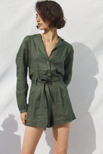Riley Linen Jumpsuit Forest Green