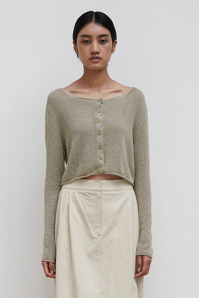 Load image into Gallery viewer, Amomento Natural Linen Cardigan