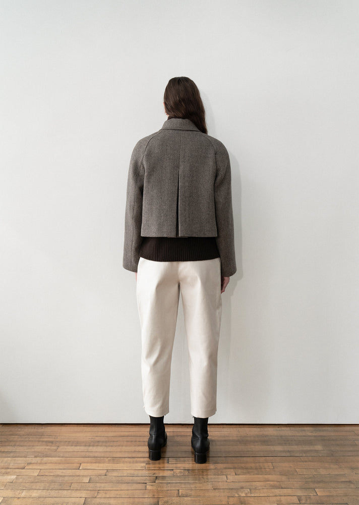 Amomento Wide Crop Coat Herringbone