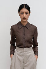 Amomento Wrinkle Belted Shirt Brown