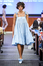 Batsheva Amy Convertible Skirt Dress Blue Moire