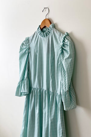 Batsheva Spring Prairie Mini Dress Seafoam Gingham