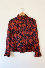Batsheva Rosette Shirt Red Grape Print