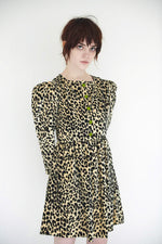 Batsheva Crystal Button Leopard Velvet Mini Dress