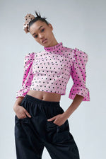 Batsheva Silk Crepe de Chine Ruffle Crop Top