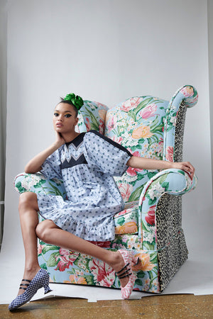 Load image into Gallery viewer, Batsheva Embroidered Zig Zag Dress Blue Floral