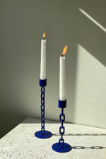 Cobalt Chain Candlesticks