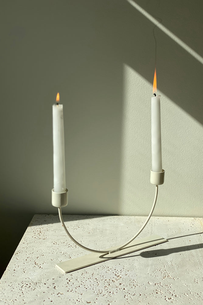 Load image into Gallery viewer, Moderne U Candleholder Cream