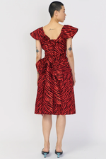 Batsheva Taffeta Bow Dress Red Zebra
