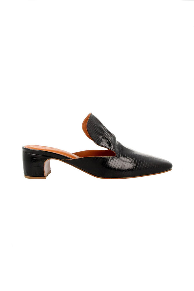 Load image into Gallery viewer, By Far Alexa Mules Black Lizard Patent
