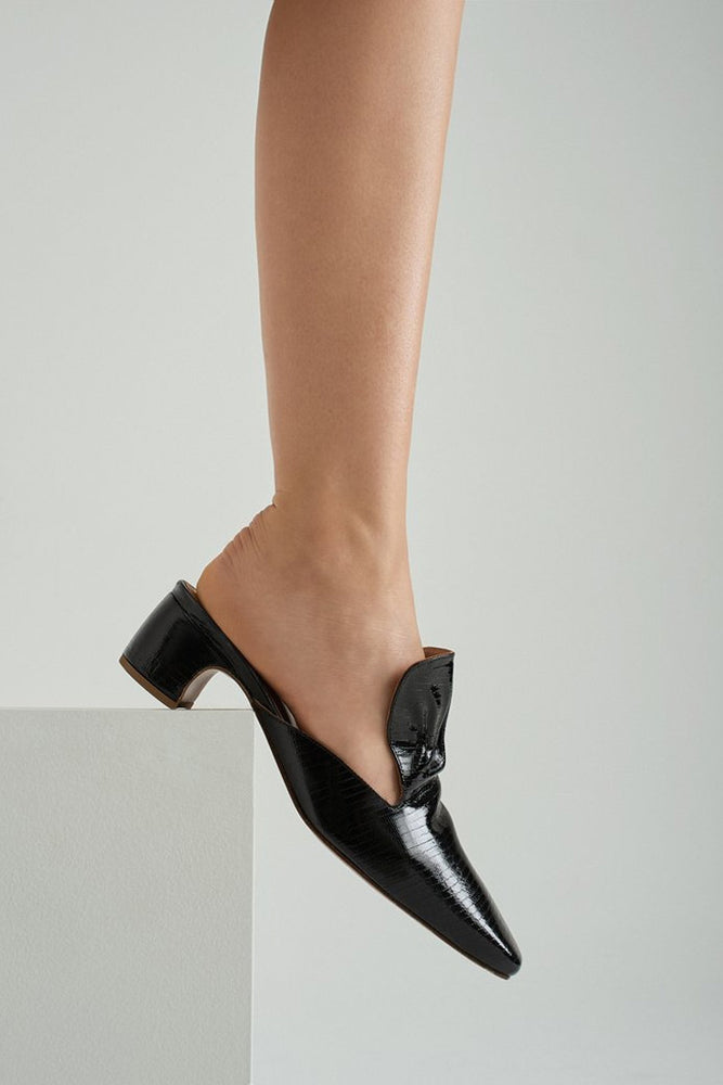 By Far Alexa Mules Black Lizard Patent
