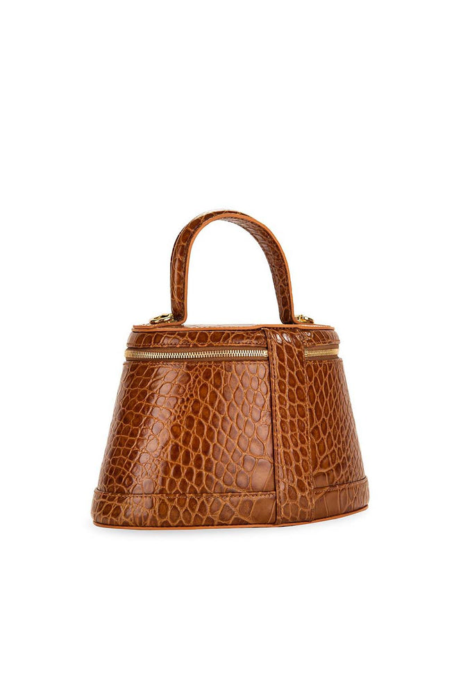 BY FAR Annie Bag Tan Croco Embossed Leather