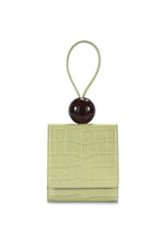 BY FAR Ball Bag Sage Green Croco Embossed Leather