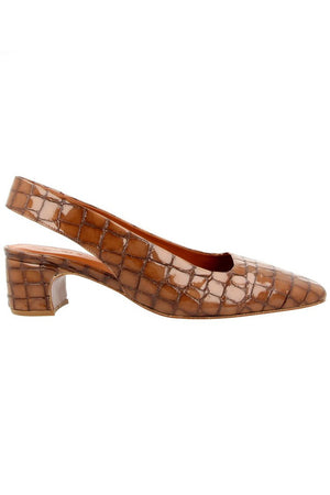 By Far Danielle Slingbacks Brown Croco Patent