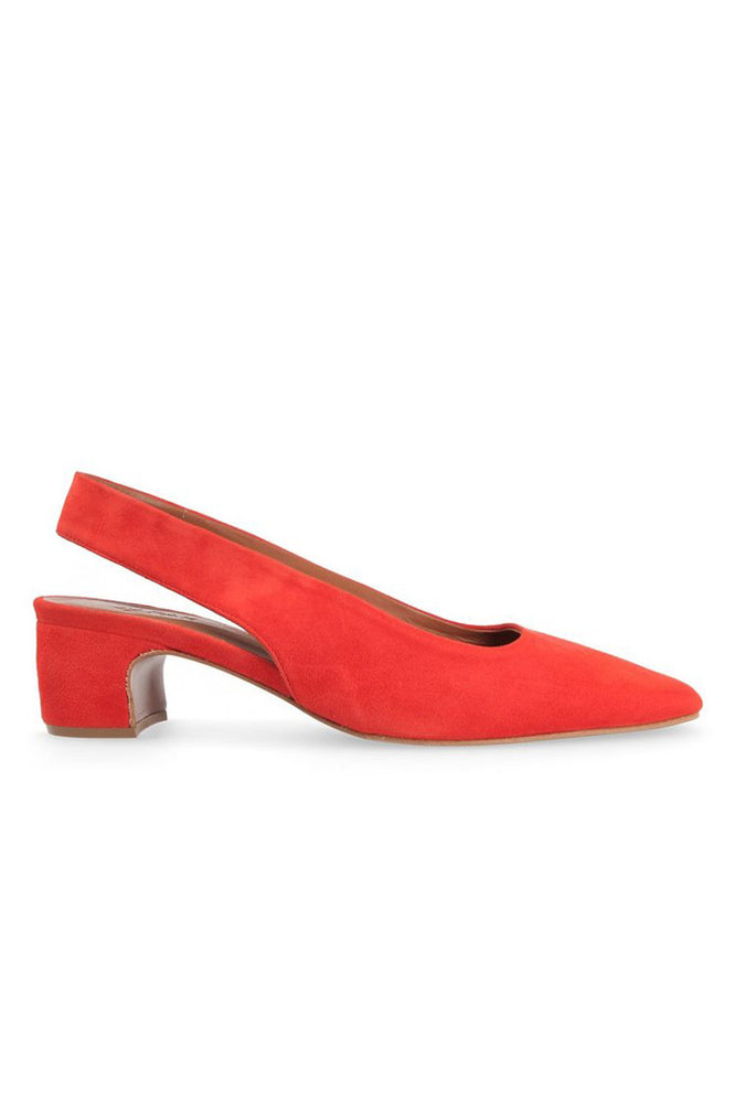 BY FAR Danielle Slingbacks Red Suede