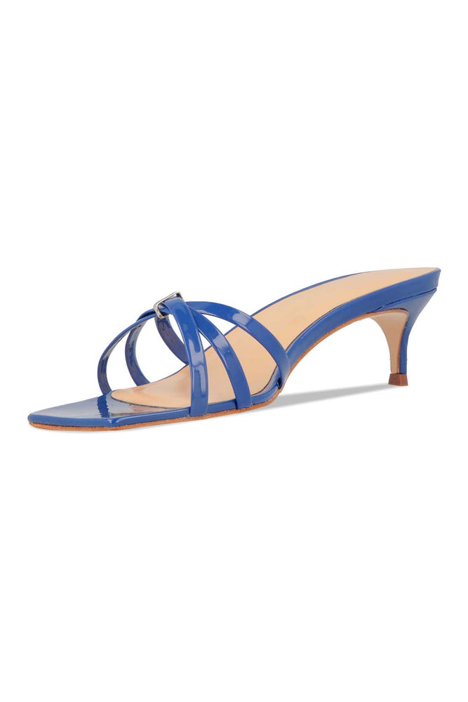 BY FAR Libra Sandals Blue Patent Leather