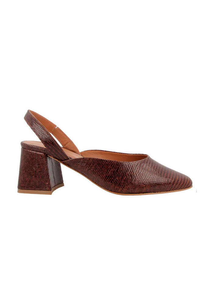 By Far Lisa Slingbacks Brown Embossed Lizard