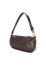 BY FAR Rachel Bag Nutella Croco Embossed Leather