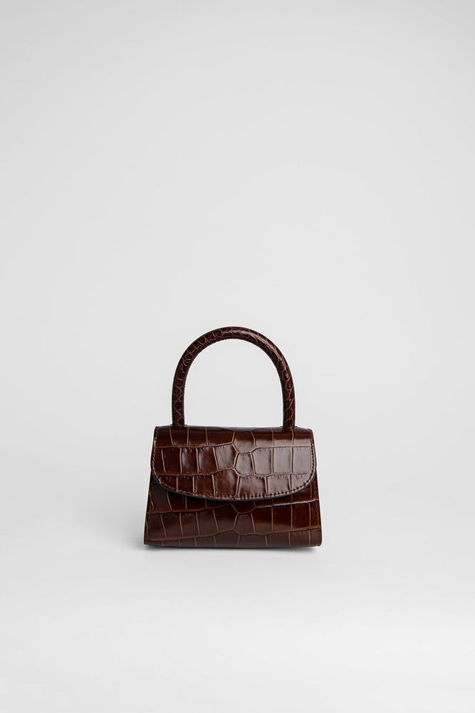 BY FAR Mini Bag Nutella Croco Embossed Leather