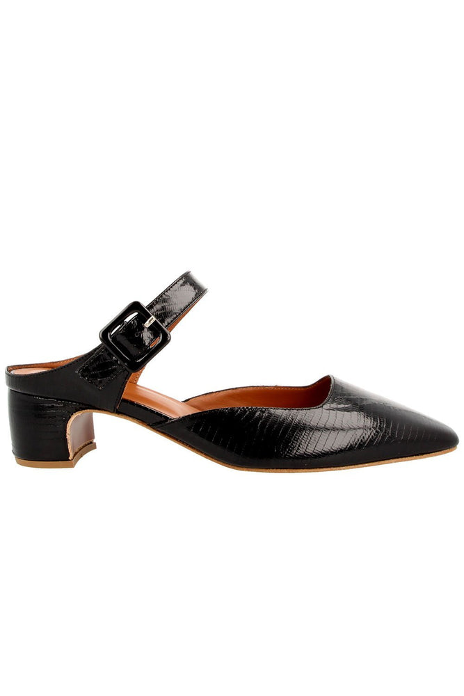 By Far Mira Mary Janes Black Lizard Embossed Leather Shoes