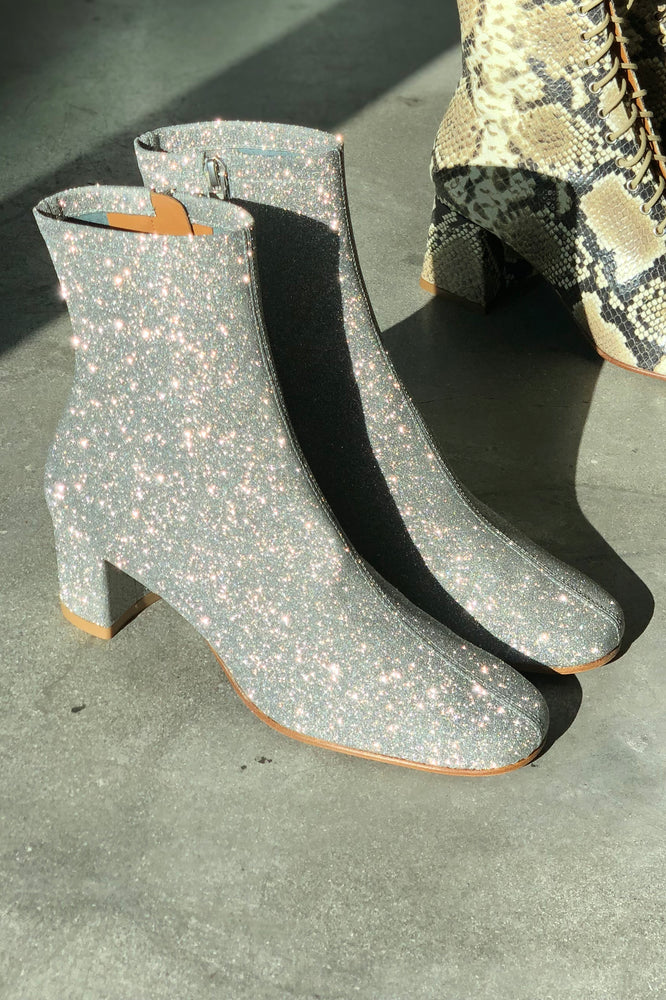 BY FAR Sofia Boots Silver Glitter Leather