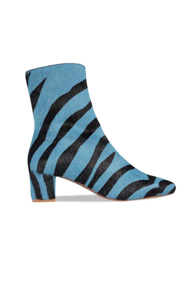 BY FAR Sofia Boots Blue Zebra Print Ponyhair