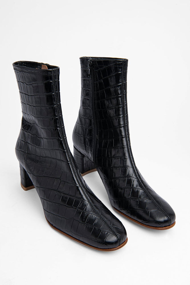 BY FAR Sofia Boots Black Croco Embossed Leather