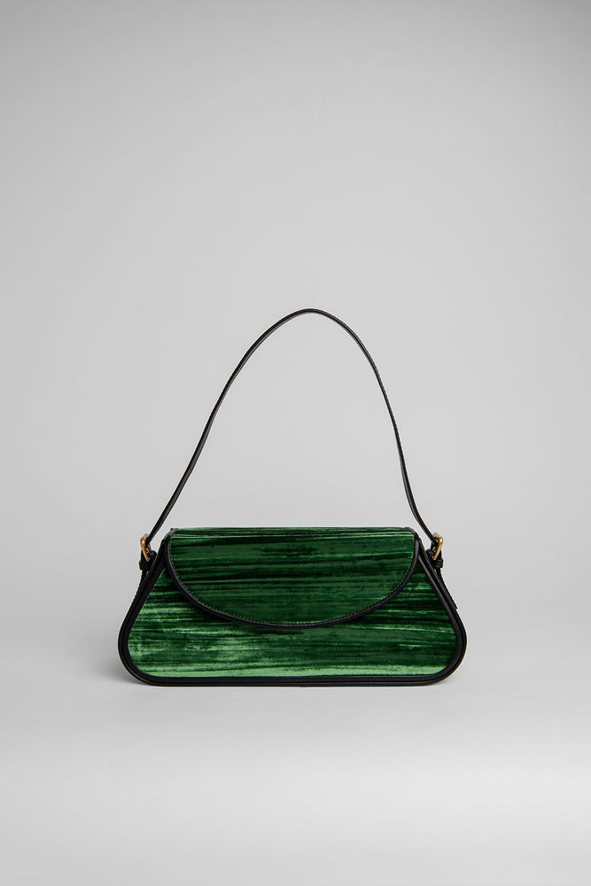 BY FAR Uma Bag Green Crushed Velvet