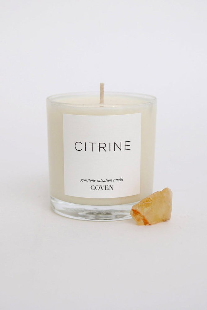 Coven Citrine Gemstone Intention Candle Sacred Space
