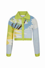 House of Sunny Daydreamer Cardigan Palm Print