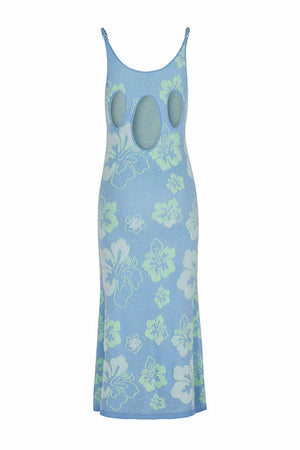 House of Sunny Blue Crush Dress Hibiscus Print - PREORDER