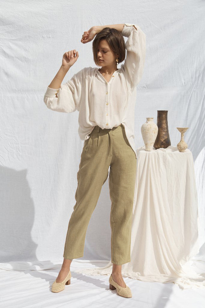 Load image into Gallery viewer, Isabel Linen Pants Stone