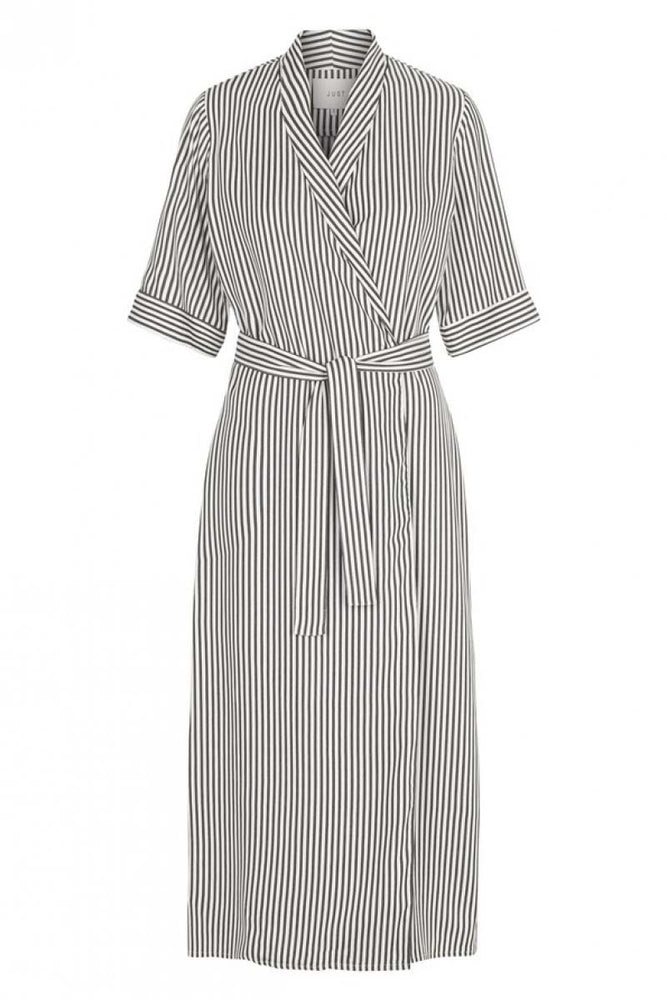 Just Female Beach Wrap Dress Green & White Stripe