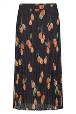Just Female Hilda Pleated Skirt Oranges Print