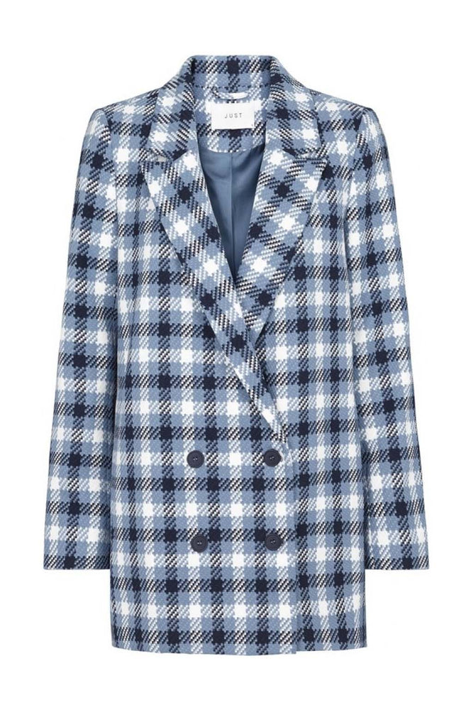 Just Female Holmes Double Breasted Blazer Blue Check