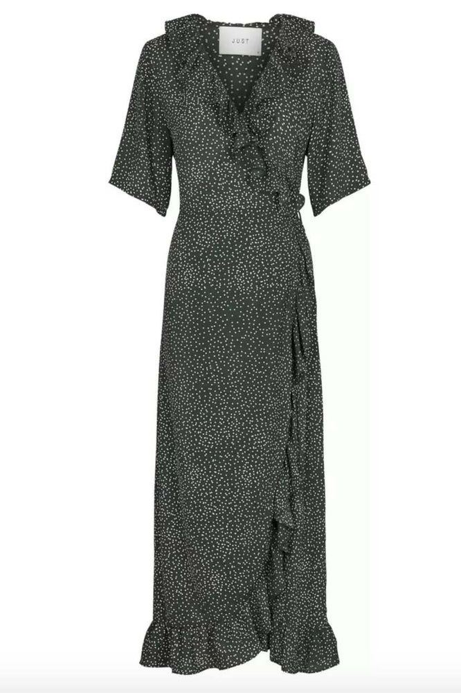 Just Female Image Maxi Wrap Dress Green Dot