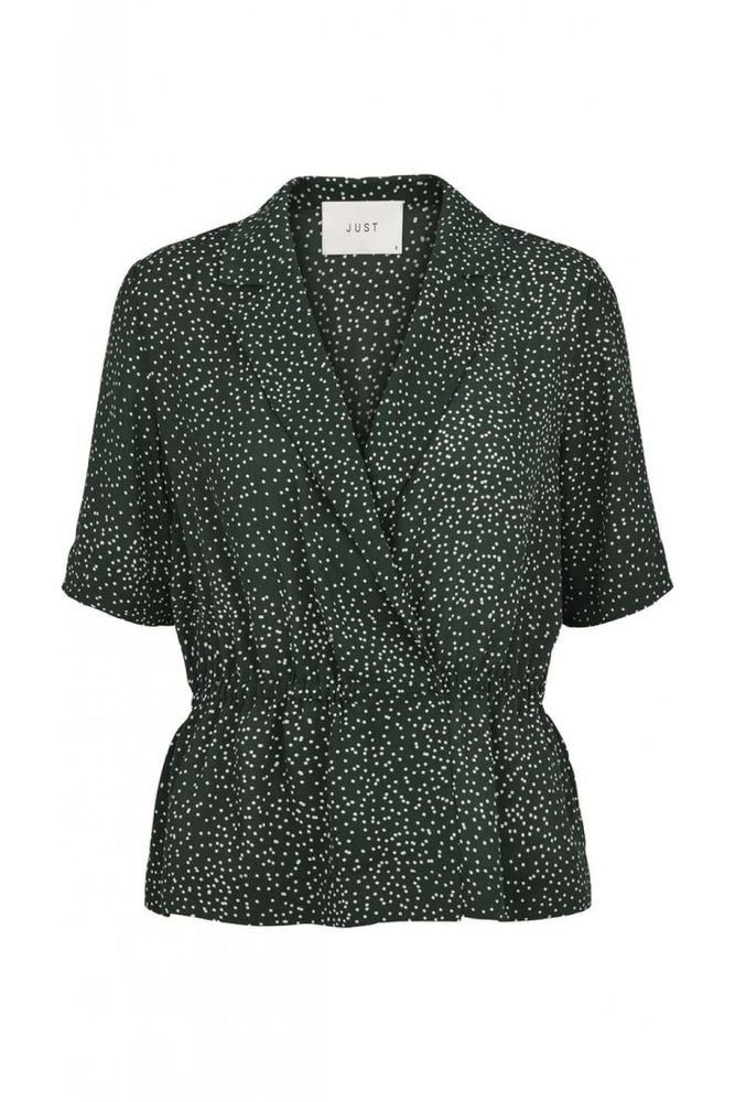 Just Female Image Wrap Blouse Green Dot