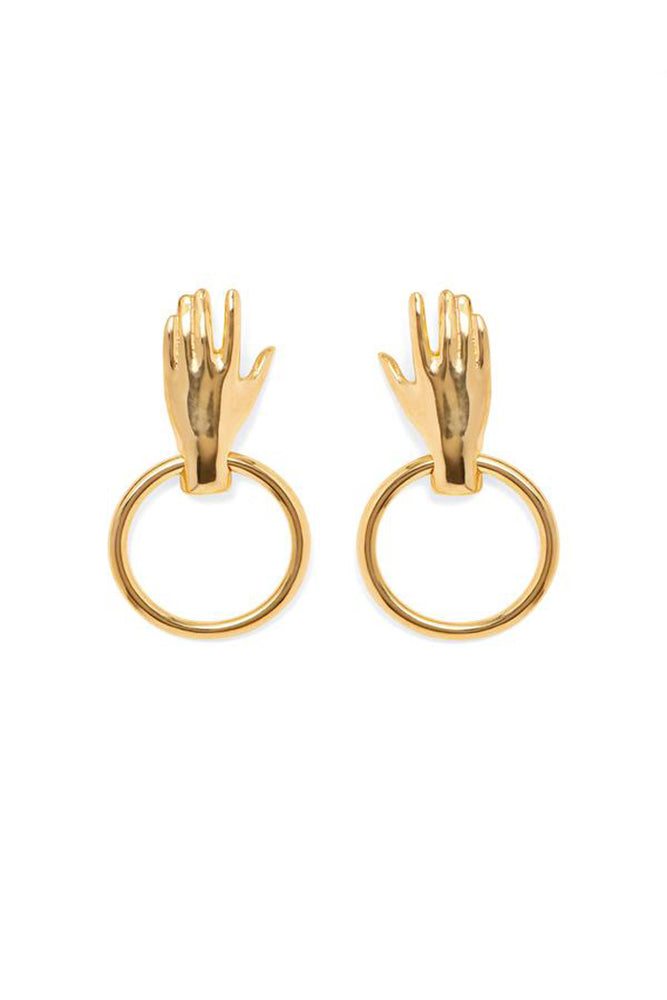 Lady Grey Hand Hoop Earrings Gold