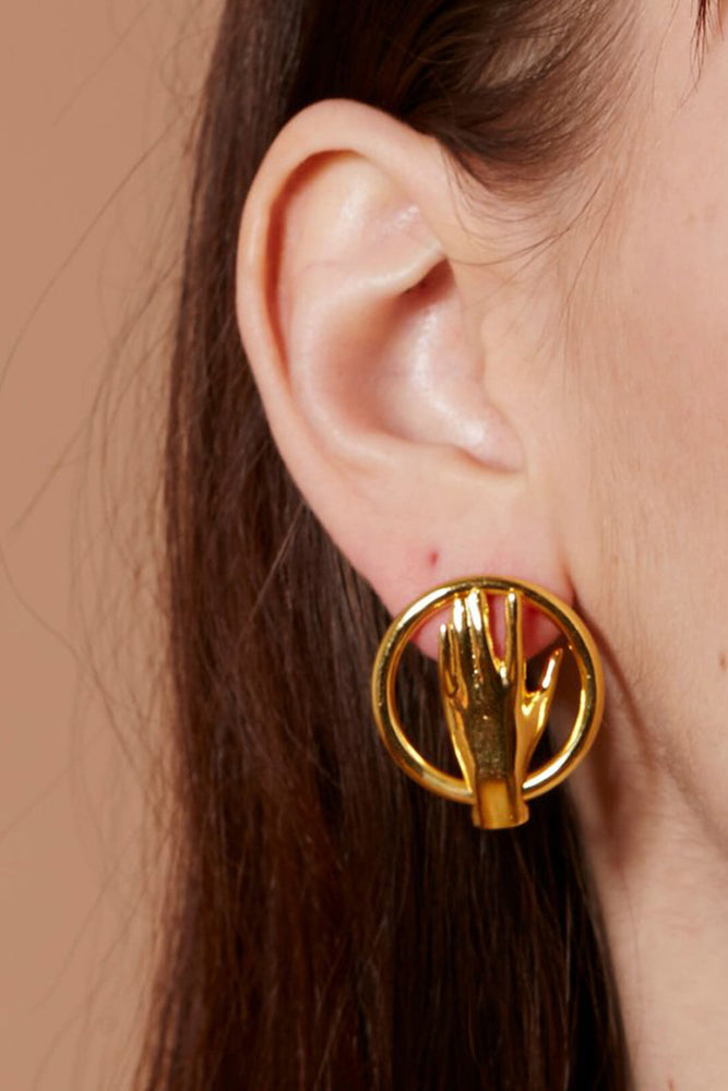 Lady Grey Hand Goop Earrings Gold