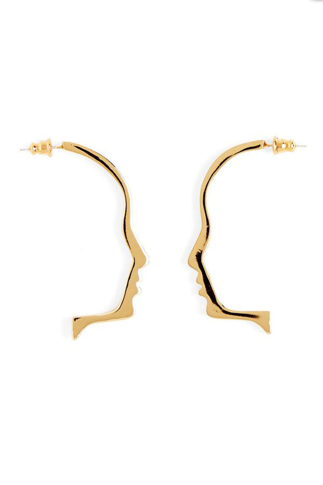 Lady Grey Silhouette Earrings Gold