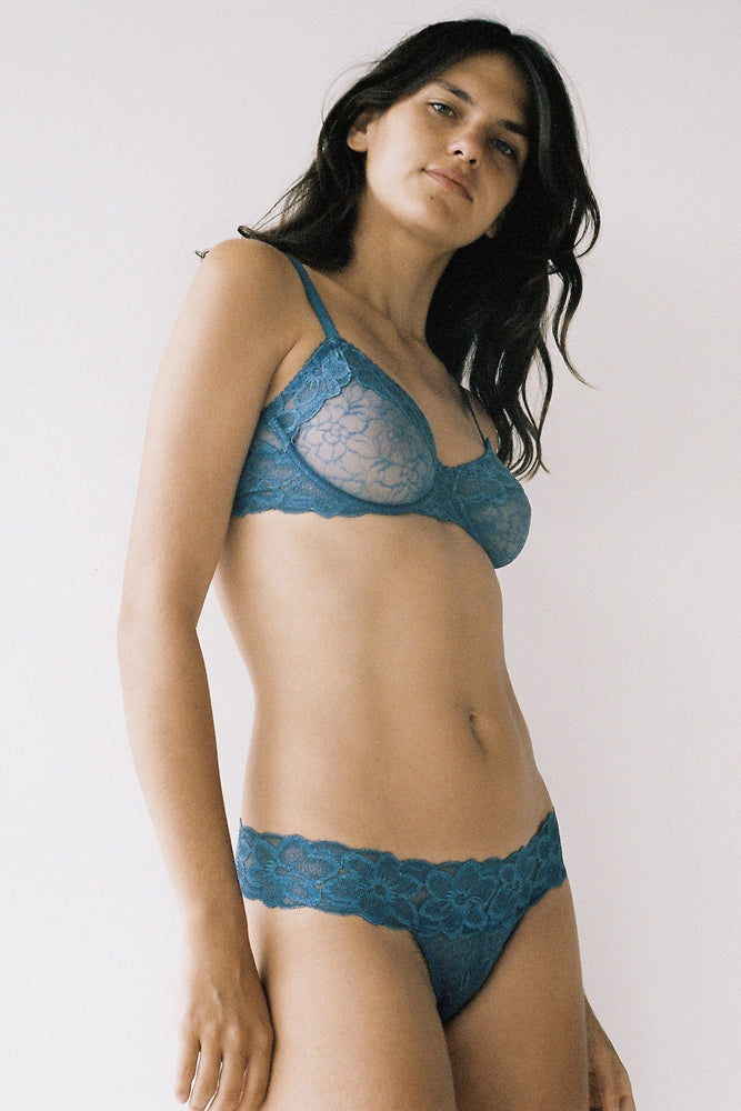 Lonely Lingerie Lilian Lace Thong Teal