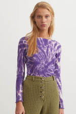 Flor Tie Die Shirt Purple