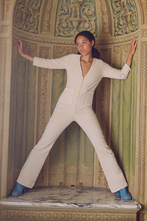 Load image into Gallery viewer, Isle Velveteen Jumpsuit Cream