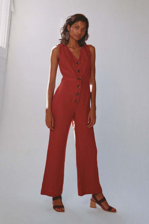 Load image into Gallery viewer, Paloma Wool Alana Linen Jumpsuit Light Caoba