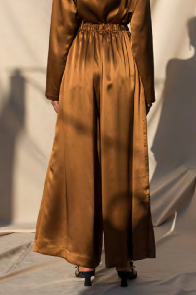 Load image into Gallery viewer, Pari Desai Kova Silk Pants Bronze