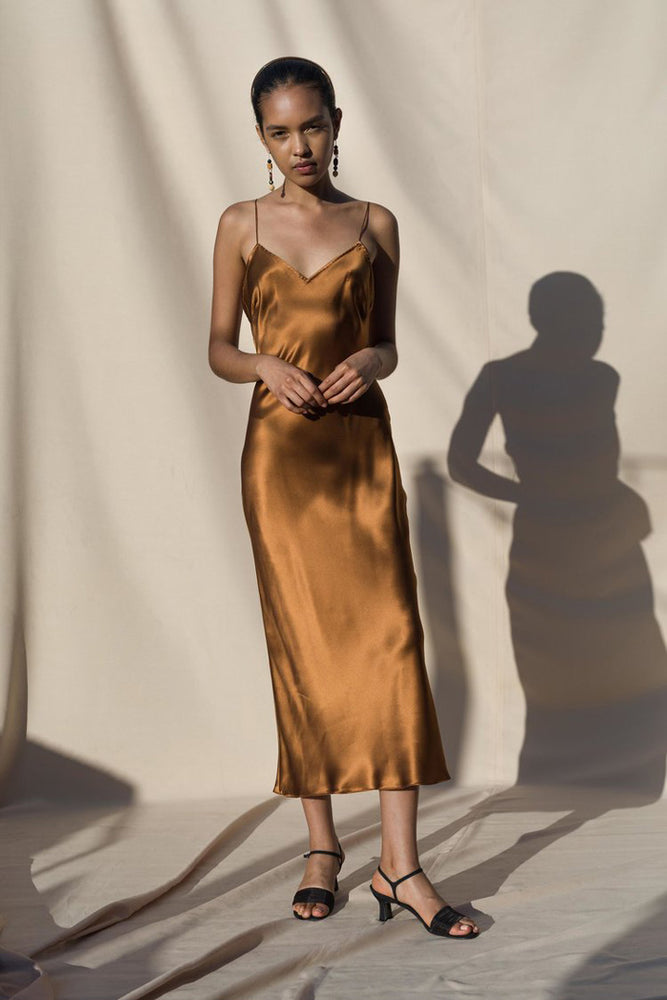 Pari Desai Sandoval Silk Slip Dress Bronze